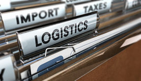 Logistics. Close up on a file tab with the word logistics, focus on the main text and blur effect. Concept image for illustration of supply chain management Stock Photo