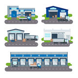 Logistics collection warehouse delivery center, loading trucks, forklifts workers vector. Stock Photography