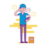 Logistics company courier or delivery man character standing wit Royalty Free Stock Image
