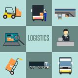 Logistics company and warehouse icon set Royalty Free Stock Images