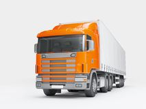 Logistics concept. Cargo truck transporting goods isolated on wh. Big cargo truck transporting goods isolated on white background. Front perspective view. 3D Royalty Free Stock Photo