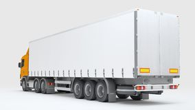 Logistics concept. Cargo truck transporting goods isolated on wh. Big cargo truck transporting goods isolated on white background. Rear perspective view. 3D Royalty Free Stock Photos