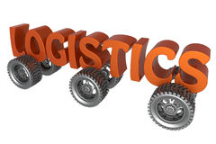 Logistics concept. 3D illustration of the logistics concept. The word logistics and six wheels isolated on a white background stock illustration