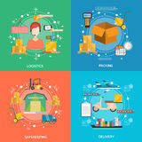 Logistics Concept Icons Set Stock Image