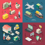 Logistics Concept Icons Set. With tracking and warehouse symbols isometric isolated vector illustration Stock Photo
