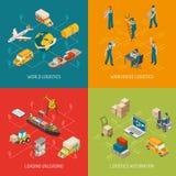 Logistics Concept 4 Isometric Icons Set Royalty Free Stock Image