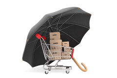 Logistics concept. Shopping cart with boxes being protected by a. N umbrella on a white background Royalty Free Stock Image