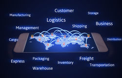 Logistics concept, world map with connecting transport and virtu. Al screen on smartphone Royalty Free Stock Photography