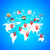 Logistics concept with world map and point markers Royalty Free Stock Photos