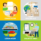Logistics concepts. Worldwide logistic network, warehouse and delivery vector illustration Stock Photo