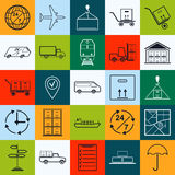 Logistics contour vector icons Royalty Free Stock Image
