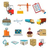 Logistics and delivery cartoon icons in set collection for design. Transport and equipment isometric vector symbol stock Stock Photography