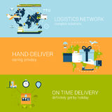 Logistics delivery concept flat web banners template set. Complex shipping solutions hand-deliver on time guaranteed shipping vector illustration website Stock Photo