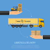 Logistics and Delivery Concept. With Trucking and Hand Flat icons. isolated vector illustration Royalty Free Stock Images