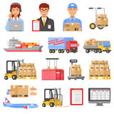 Logistics And Delivery Decorative Icons Set vector illustration
