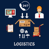 Logistics and delivery flat icons Royalty Free Stock Image