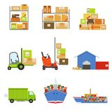 Logistics And Delivery Related Set Of Objects Royalty Free Stock Image