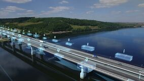 Logistics, delivery and transport of goods and parcels by means of transport, van and truck. Aerial view on bridge