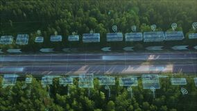Logistics, delivery and transport of goods and parcels by means of transport, van and truck. Aerial view on highway with
