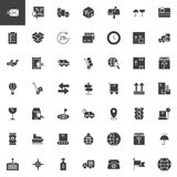 Logistics and delivery vector icons set. Modern solid symbol collection, filled style pictogram pack. Signs, logo illustration. Set includes icons as cardboard Royalty Free Stock Images