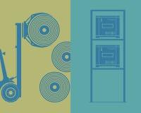 Logistics. Elements. Forklift, rollers, shelf Stock Images