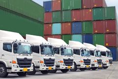 Logistics equipments. New truck fleet in container depot as in logistics concept Stock Image