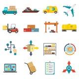 Logistics Flat Icons Set Stock Images