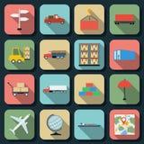 Logistics flat vector icons Royalty Free Stock Image