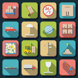 Logistics Flat Vector Icons Stock Image