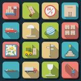 Logistics flat vector icons Stock Image
