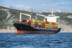 Logistics and freight transportation, cargo ship Stock Photos