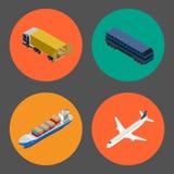 Logistics and freight transportation icon set Royalty Free Stock Photo