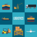 Logistics and freight transportation icon set Stock Images