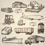 Logistics hand drawn  elements. Stock Photography