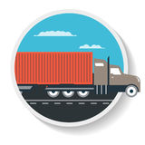 Logistics icon with commercial freight truck Stock Photos