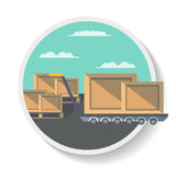 Logistics icon with delivery boxes on truck Royalty Free Stock Image
