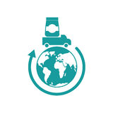 Logistics Icon. Delivery sign. truck carries goods earth Royalty Free Stock Photos