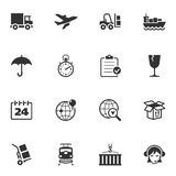 Logistics Icons. Set of 16 logistics icons, great for presentations, web design, web apps, mobile applications or any type of design projects Royalty Free Stock Image