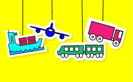 Logistics icons of airplane, vessel, train and truck Stock Images