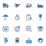 Logistics Icons - Blue Series. Set of 16 logistics icons, great for presentations, web design, web apps, mobile applications or any type of design projects royalty free illustration