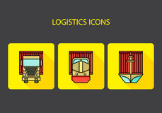 Logistics icons. Container traffic. Vector illustration Stock Photography