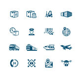 Logistics icons. Logistics and delivery contour icon-set Royalty Free Stock Photo