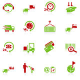 Logistics icons - green-red series. Set of 16 professional logistics and transportation icons with reflection, green-red series Stock Photos