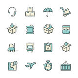 Logistics Icons. Hand drawn blue and beige logistics icons. File format is EPS8 vector illustration