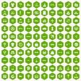 100 logistics icons hexagon green. 100 logistics icons set in green hexagon isolated vector illustration royalty free illustration