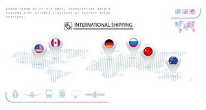 Logistics icons. Pins with flags of different countries.  Transport. Logistics icons. Pins with flags of different countries.  Ship, truck, airplaine and train Stock Image