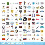 100 logistics icons set, cartoon style. 100 logistics icons set in cartoon style for any design vector illustration Stock Image