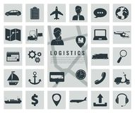 Logistics icons set. Delivery and Transportation. Silhouettes. Vector Royalty Free Stock Photos