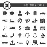 Logistics icons set. Delivery and Transportation. Silhouettes. Vector Stock Photography