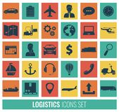 Logistics icons set. Delivery and Transportation. Silhouettes. Vector Royalty Free Stock Photo